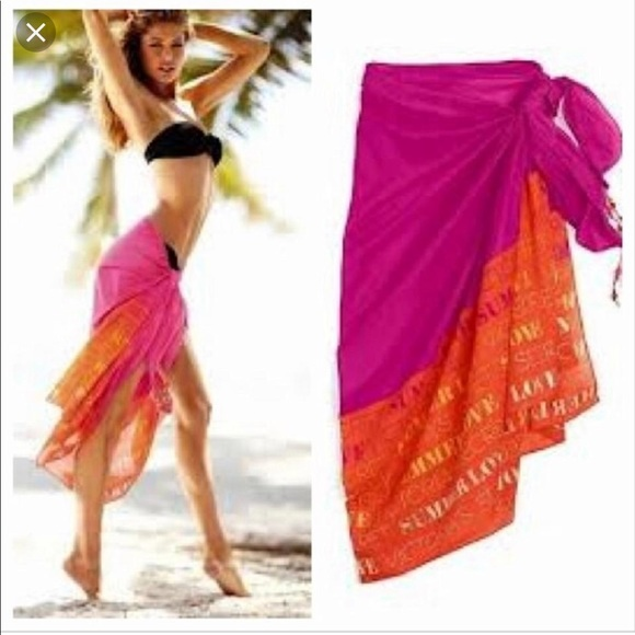 4fa930638086f 2/$20 😊 VS 🧡 Orange and Pink Parao Sarong Scarf. NWT. Victoria's Secret
